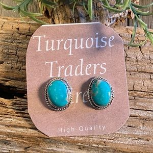 Navajo Turquoise & Sterling Silver Post Earrings